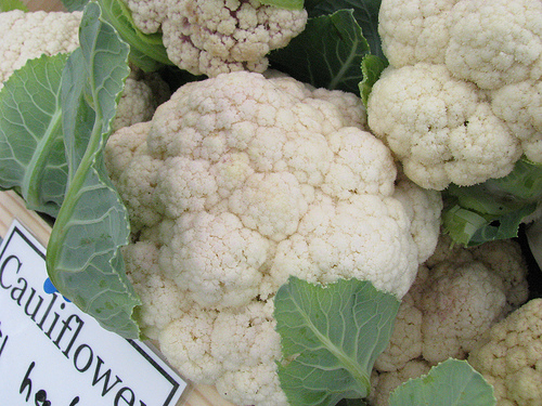 cauliflower at market