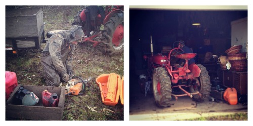 tractor and chainsaw